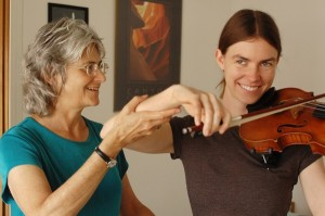 Phyllis Richmond works with an Alexander Technique student